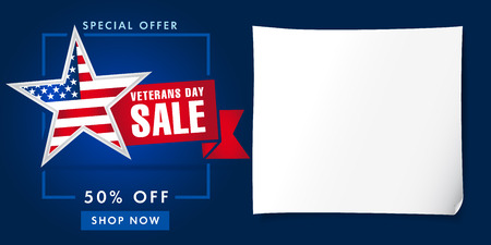 Veterans day USA, sale poster. Special offer star shape for veterans day, 50% off, shop now background. Illusztráció