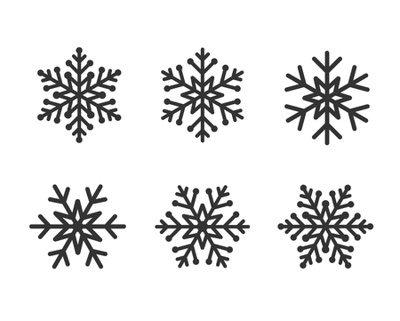 Winter black christmas frost  snowflakes isolated silhouette symbol. Snowflake line set gray color on white background Ilustração