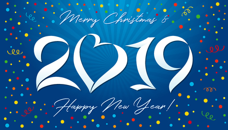 20 19 xmas greeting. Lovely Congratulation logotype, congrats template design, isolated 3d graphic, blue bg. Congratulates snow digits. Calender seasonal art and X-Rays, typography elements