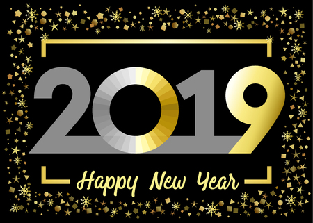 2019 golden glitter Happy New Year xmas greetings. Gold snowy winter background with bright numbers. Seasonal discount digits percent off, zero or O sign Vektoros illusztráció