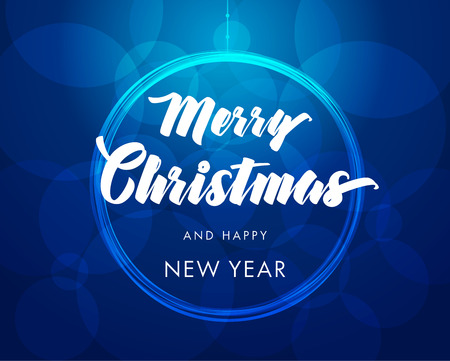 Merry Christmas and Happy New Year typography. Handwritten lettering Ilustração
