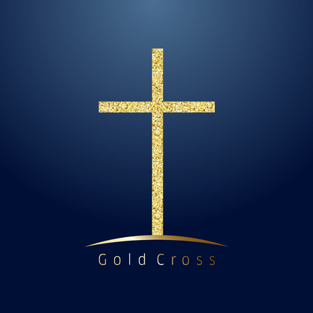 Gold cross on hill logotype. Emblem of christian event & education. Greeting card with sparkles on dark blue background. Isolated symbol, graphic design template.