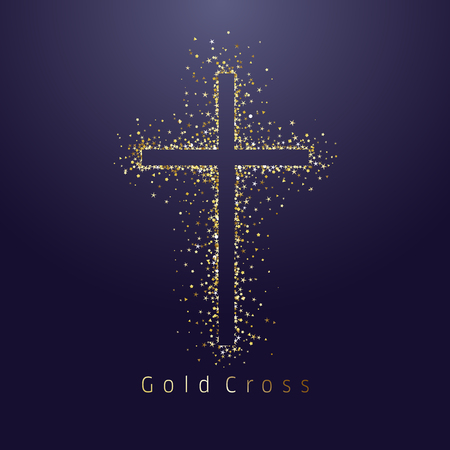 Gold shining cross logotype. Emblem of religious event. Greeting card with sparkles on dark night background. Isolated tradition glorious miracle symbol, abstract graphic design template Vettoriali