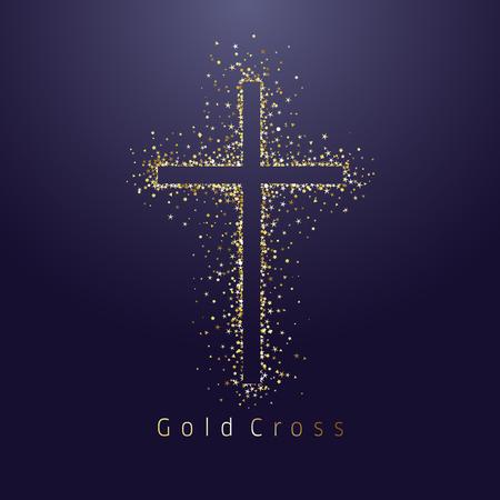 Goldglänzendes Kreuz-Logo. Emblem des religiösen Ereignisses. Grußkarte mit Funkeln auf dunklem Nachthintergrund. Glorreiches Wundersymbol der isolierten Tradition, abstrakte Grafikdesignschablone Logo
