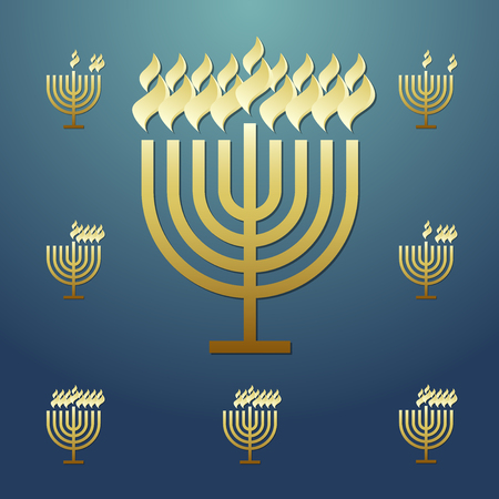 Happy Hanukah sameah congrats. Isolated graphic design template. Traditional religious chanukah elements. Blue square backdrop with shining frame. Celebrating conratulating decorative sign