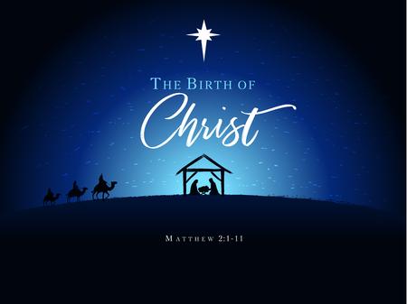 Jesus und Jesus in der Krippe Die Geburt Christi, Vektorbanner oder Poster