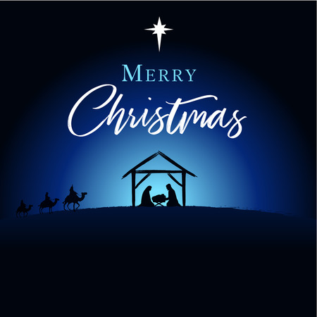 Merry Christmas, birth of Christ greeting card. Jesus and Jesus in the manger Vector banner or poster Stock Illustratie