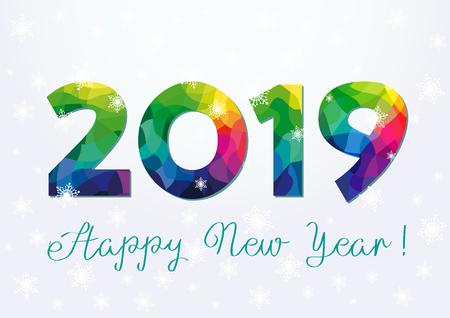20 19 xmas greeting. Bright colored congratulation illustration, white paper snowy bg. Congratulates digits. Calender art elements.