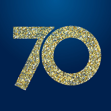 70 th years old symbole. Isolated golden color abstract dot graphic symbol of 70%. Shiny straight elegant cut label design template. Round shape digits, up to -70% percent off sign. Discount emblem. 일러스트