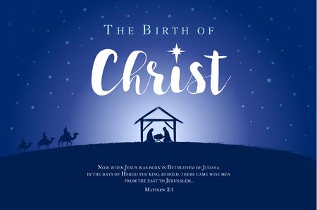 Feliz Navidad, bandera del nacimiento de Cristo. Jesús en el pesebre con la estrella y el texto bíblico. Ilustración vectorial