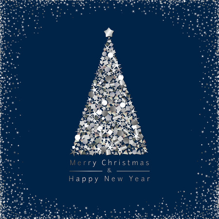 Merry xmas & and A Happy New Year congrats. Dark blue square wave logo frame Calender noise art elements