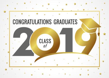 Clase de graduación de la ilustración de vector de 2019. Clase de 20 19 negro para tarjetas de diseño, invitaciones o pancartas