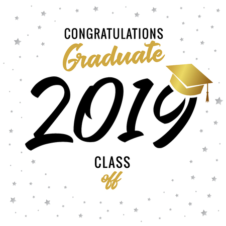 Calligraphy graduating class of 2019 vector illustration. Class of 20 19 black for design cards, invitations or banner
