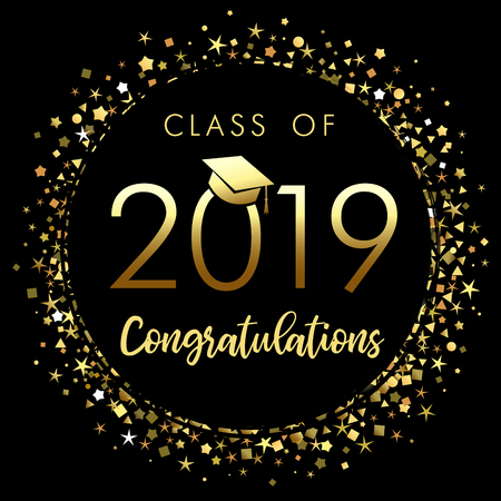 Poster di laurea classe 2019 con coriandoli glitter oro. Classe di 20 19 congratulazioni per i tuoi biglietti di design, inviti o banner