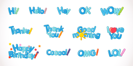 Set of phrase emoji vector web icons. Abstract graphic design word template. Blue background effect letters with 3 d effect font on white background. Illustration