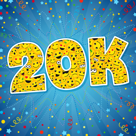 Thank you 20K logotype. Congratulating bright 20.000 networking, 20000k cute sign, people digits. Isolated years old, lol symbol. Graphic design template