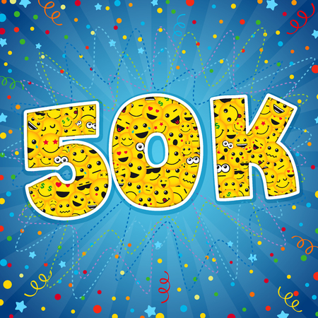 Thank you 50K logotype. Congratulating bright 50.000 networking, 50000k cute sign, people digits. Isolated years old, lol symbol. Graphic design template