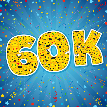 Thank you 60K logotype. Congratulating bright 60,000k network sign 60000k cute sign, people digits. Isolated years old, lol symbol. Graphic design template Illusztráció