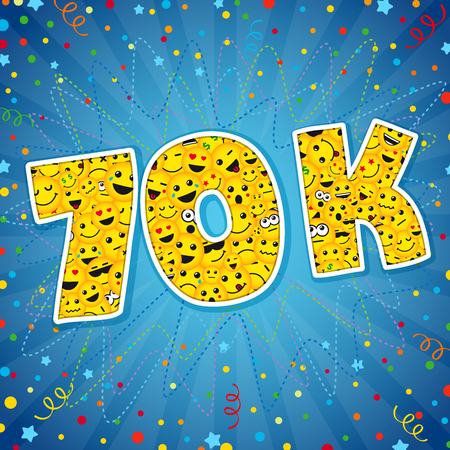 Thank you 70K logotype. Congratulating bright 70.000 networking, 70000k cute sign, people digits. Isolated years old, lol symbol. Graphic design template