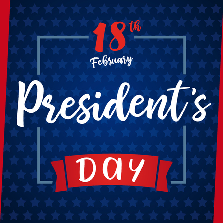 Lettering Presidents day greeting card blue stars. Happy President`s Day