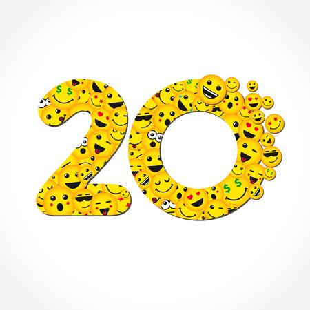 Messenger de chat de aniversario de 20 años. Felicidades de los 20 años. Logotipo amarillo aislado de la letra O de abc. Símbolo gráfico web abstracto del 20%. Plantilla de diseño de etiqueta de vector. Dígitos de forma redonda, hasta un -20% de descuento en signo. Emblema de descuento.