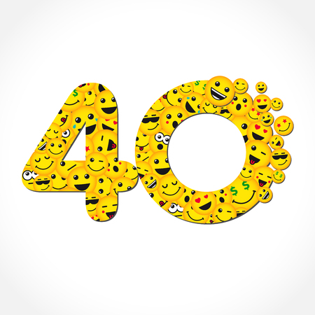 40 years anniversary chat messenger. 40 th years old congrats. Isolated yellow letter O logotype. Abstract web graphic symbol of 40%. Vector label template design. Round shape digits, up to -40% percent off. Discount business sign