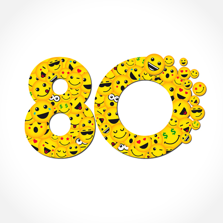 80 th years old congrats. Isolated yellow letter O. Abstract web graphic symbol of 80%. Vector label template design. Round shape digits, up to -80% percent off. Discount business sign