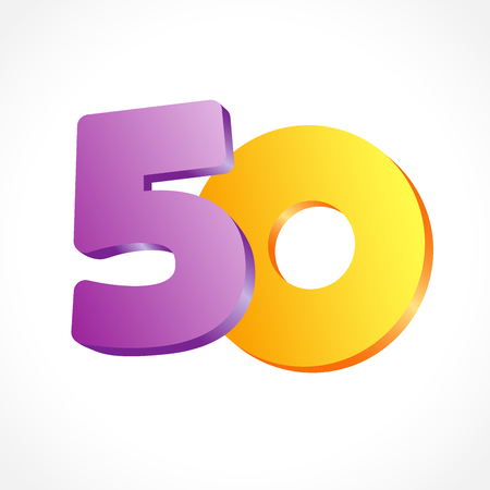 50 th years old congrats. Isolated abstract colored graphic design template. Up to 50 or -50% off. Round shape 0. Violet 5 and gold null flying digits. Discount emblem on white background.