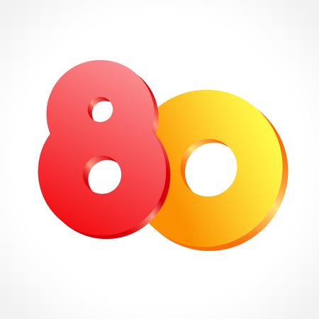Felicidades por los 80 años. Plantilla de diseño gráfico de color abstracto aislado. Hasta 80 o -80% de descuento. Forma redonda 0. Rojo 8 y dígitos voladores nulos dorados. Emblema de descuento sobre fondo blanco. Logo aniversario 80 años Logos