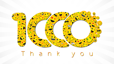 Happy 1000 greeting card, decorative background.Thank you 1,000 followers. Congratulating bright 1.000 networking sign, yellow friends, 1000k sign with people faces. Isolated smiling numbers. Abstract graphic design template.