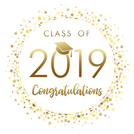 Banner de graduación de clase de 2019 con confeti dorado brillante. 2019