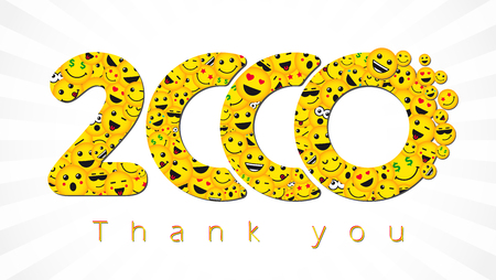 Thank you 2,000 followers. Congratulating bright 2.000 networking sign, yellow friends, 2000k sign with people faces. Isolated smiling numbers. Abstract graphic design template.