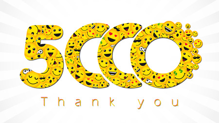 Thank you 5,000 followers. Congratulating bright 5.000 networking sign, yellow friends, 5000k Isolated smiling numbers. Abstract graphic design template.
