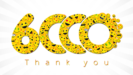 Thank you 6,000 followers. Congratulating bright 6,000k network sign. Isolated smiling numbers. Abstract graphic design template.