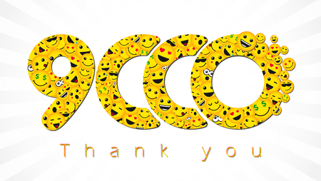 Thank you 9,000 followers. Congratulating bright 9000k sign with people faces. Isolated smiling numbers. Abstract graphic design template.