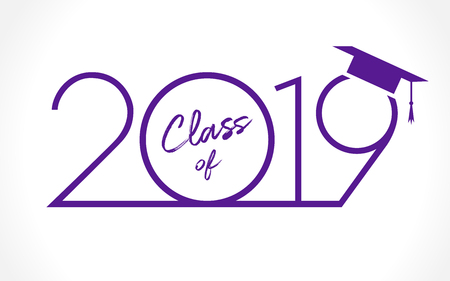 Klasse von 20 19 Jahren Abschlussfahne, Auszeichnungskonzept. T-Shirt-Idee, Urlaub blau und violett. Isolierte abstrakte Grafikdesign-Vorlage auf weißem Hintergrund. 2019 Absolventen-Grußkarte