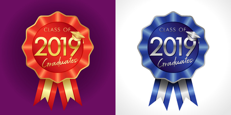 Class of 20 19 year congrats graduates award. IQ sign for uniform jacket, sport symbol. Isolated numbers, abstract backgrounds. Vector 1 st 2 nd emblem