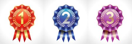 Numeri colorati del premio, set di logotipi. Modello di disegno grafico astratto isolato. Icone colorate, simboli di vittoria. Celebrando congratulazioni decorative 1 a, 2 a 3 a collezione di segni. Tazze vettoriali