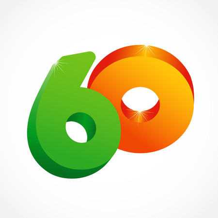 60 th years old congrats. Isolated abstract colored graphic design template. Up to -60%. Round shape 0. Discount emblem on white background. Creative web digits with 3D rotation effects.