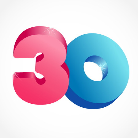30 th years old congrats. Isolated abstract colored graphic design template. Up to -30%. Round shape 0. Discount emblem on white background. Creative web digits with 3D rotation effects.