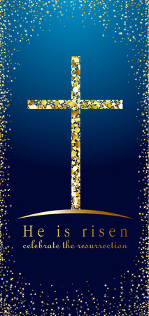 Happy Easter congratulations. He is risen celebrate the resurrection. Vector illustration, euroflyer standard size. Isolated abstract graphic euro flyer design template. Glittering flier with congratulating text. Holiday image.