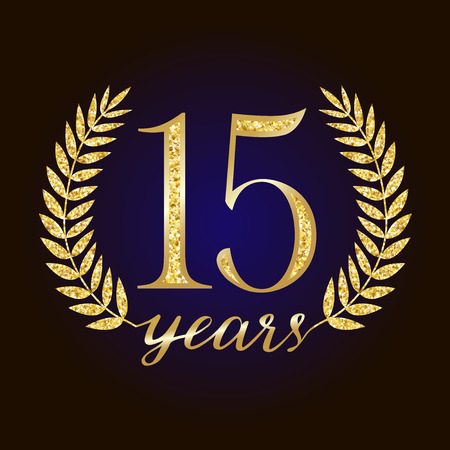 Sparkling glitter 15 anniversary. 15 th years old logotype. Isolated elegant abstract nominee graphic seal of 15%. Congratulating celebrate decorating card, up to -15% percent off sign.