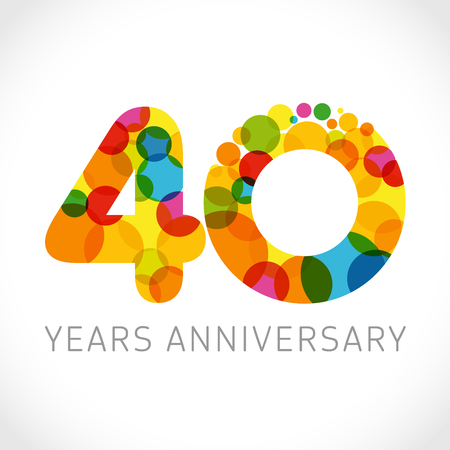 4 th anniversary numbers. 4 years old multicolored logotype. Congrats 40th greetings, congratulation idea. Isolated abstract graphic design template. Colored digits, up to -40% percent off discount