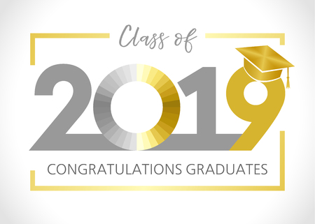 Class of 20 19 year graduation banner, awards concept. T-shirt idea, holiday colored invitation card, bright embem. Isolated numbers, abstract letters design, brush letters, white background