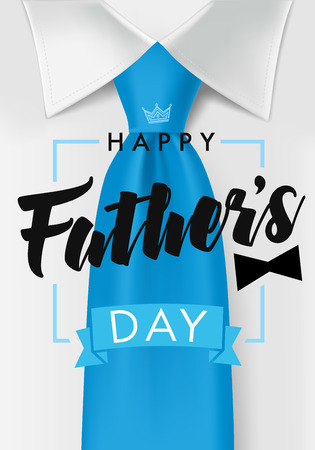 Teal necktie and black bow. Background for web banner. Dad my king illustration