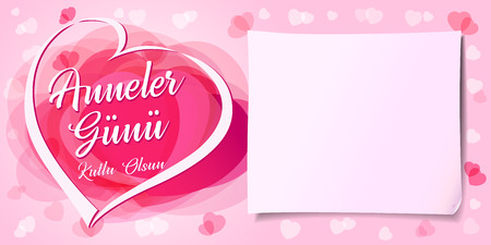 Anneler Gunu, Kutlu Olsun, translation: Happy mothers day. Pink love hearts greeting card for mothers day. Mom i love you flyer or poster template. Vector Illustration  イラスト・ベクター素材