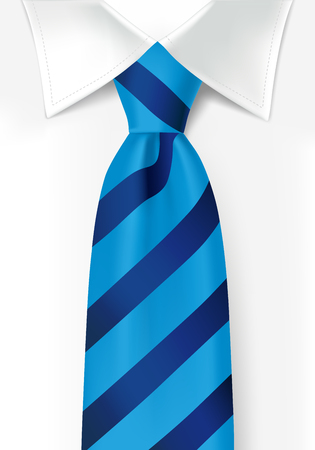 Blue striped tie on white shirt background. Colored teal elegant necktie for men. Vector illustration for fathers day