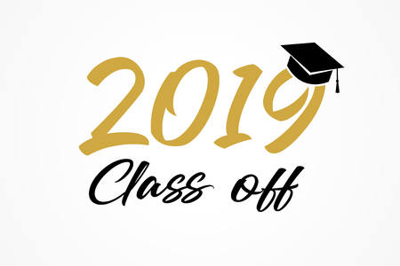 Class of 2019, modern calligraphy. Hand drawn lettering graduation  . High school or college graduate, year book. Vector illustration Illustration