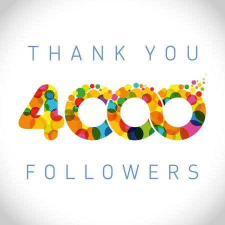 Merci logotype 4000 abonnés. Félicitant le signe lumineux 4.000 avec des bulles. Numéros souriants isolés. Conception graphique abstraite 4% sur le modèle Logo