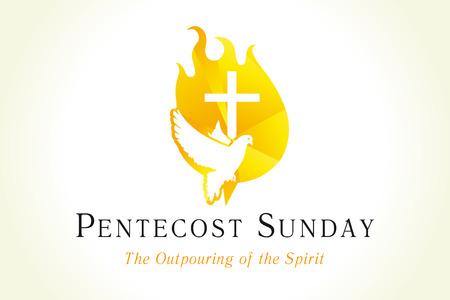 Bandera de Pentecostés con paloma y cruz en llamas. Invitación al pentecostés cristiano con el Espíritu Santo y texto. Ilustración vectorial